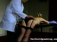 Blond chick caned by doctor