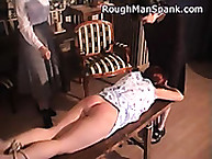 Rough Man Spank. Redhead tied and spanked