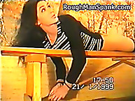 Rough Man Spank. Young brunette in black nylon