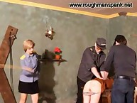 Police domme spanks bad girl