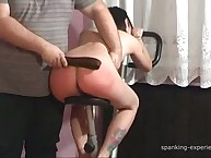 Young brunette with perfect body was punished by strap