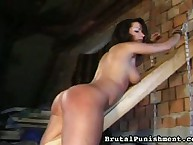 Sexy babe use sex toy after spanking