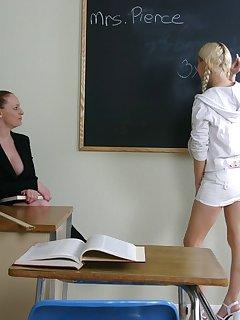 16 of School teacher spanks blond babes ass with pink belt