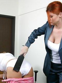 20 of Redhead teacher spanks blonde in front of class